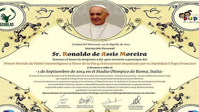 La invitación del Papa Francisco a Ronaldinho.