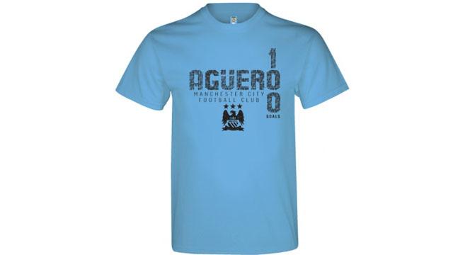 La remera en homenaje al récord de Agüero.