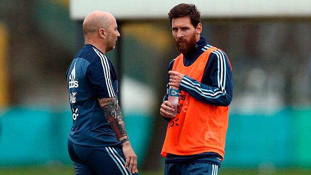 Sampaoli y Messi.