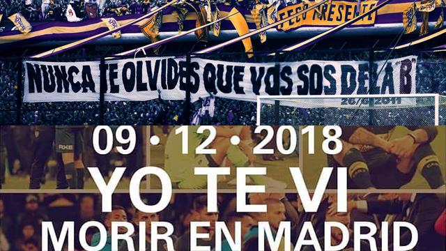 Los hinchas de Boca y River cruzaron afiches por el aniversario del descenso.