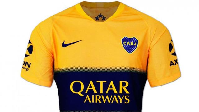 El nuevo diseño amarillo de camiseta alternativa que utilizará Boca.