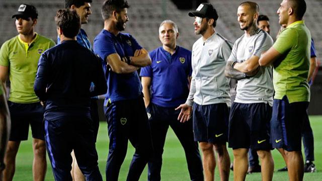 Los jugadores de Boca el día de la suspensión.