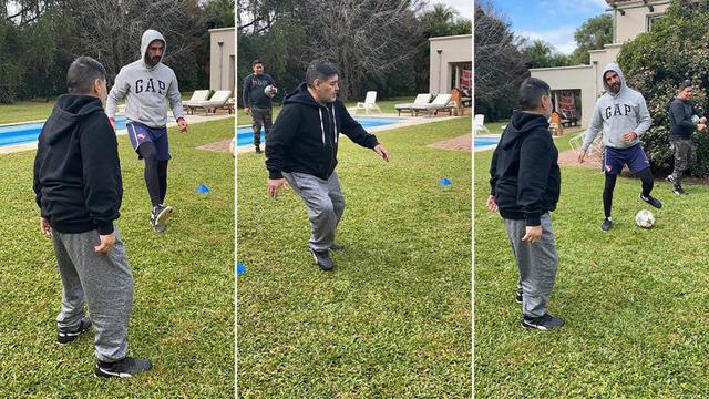 Maradona y su rutina física.