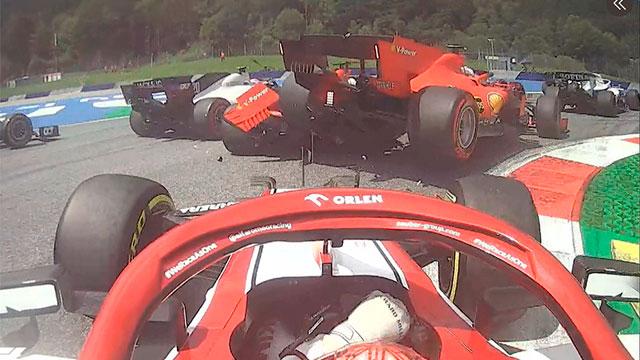 Papelón de Ferrari en la Fórmula Uno: chocaron entre sí  los autos y debieron abandonar