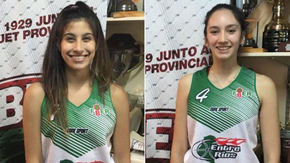 Iara Navarro (Talleres) y Agustina Marín (Obras Basket).