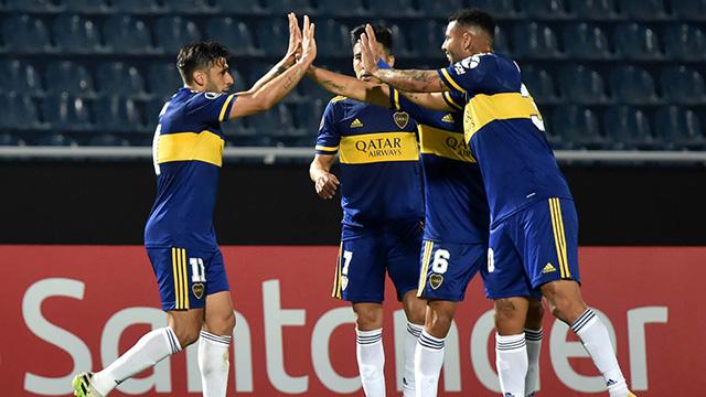 La alegría de Ameal tras el triunfo de Boca.