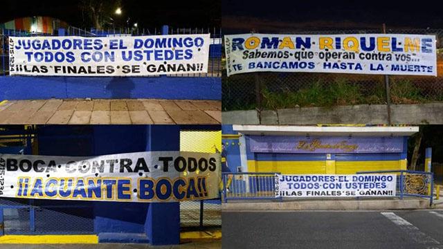 Aparecieron pasacalles en La Bombonera antes de la final de Boca por la Liga