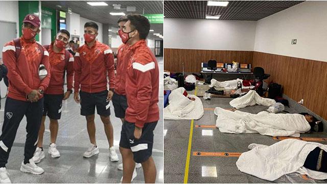 Problemas con Independiente en su llegada a Brasil.