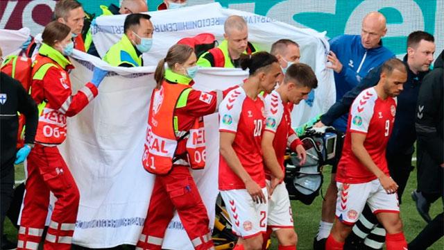 Conmoción en la Eurocopa: un jugador de Dinamarca se desplomó en pleno partido
