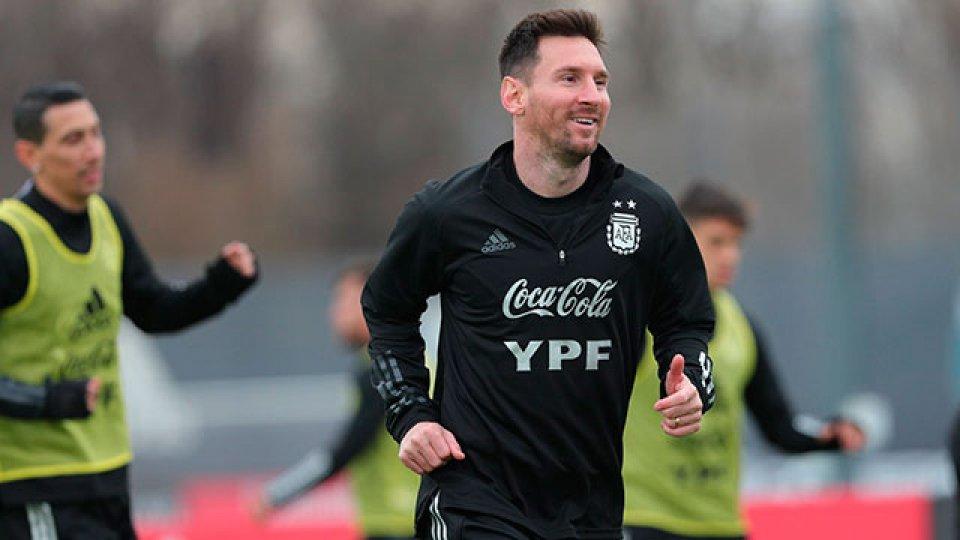 Lionel Messi, en la práctica del seleccionado nacional.
