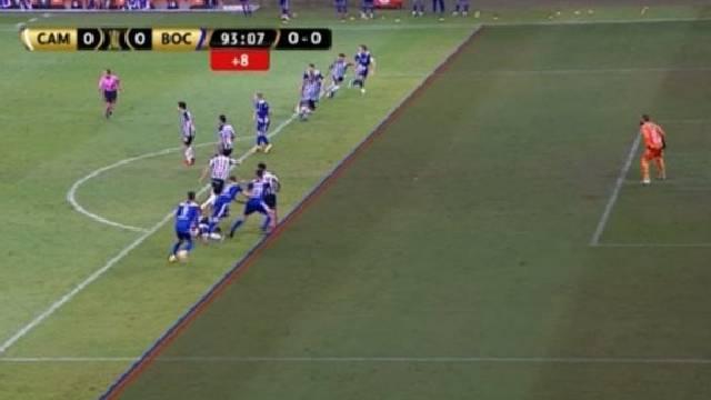 Milimétrica posición adelantada del Pulpo con la que el VAR anuló el gol.